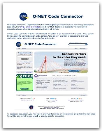 Code Connector Desk Aid screenshot